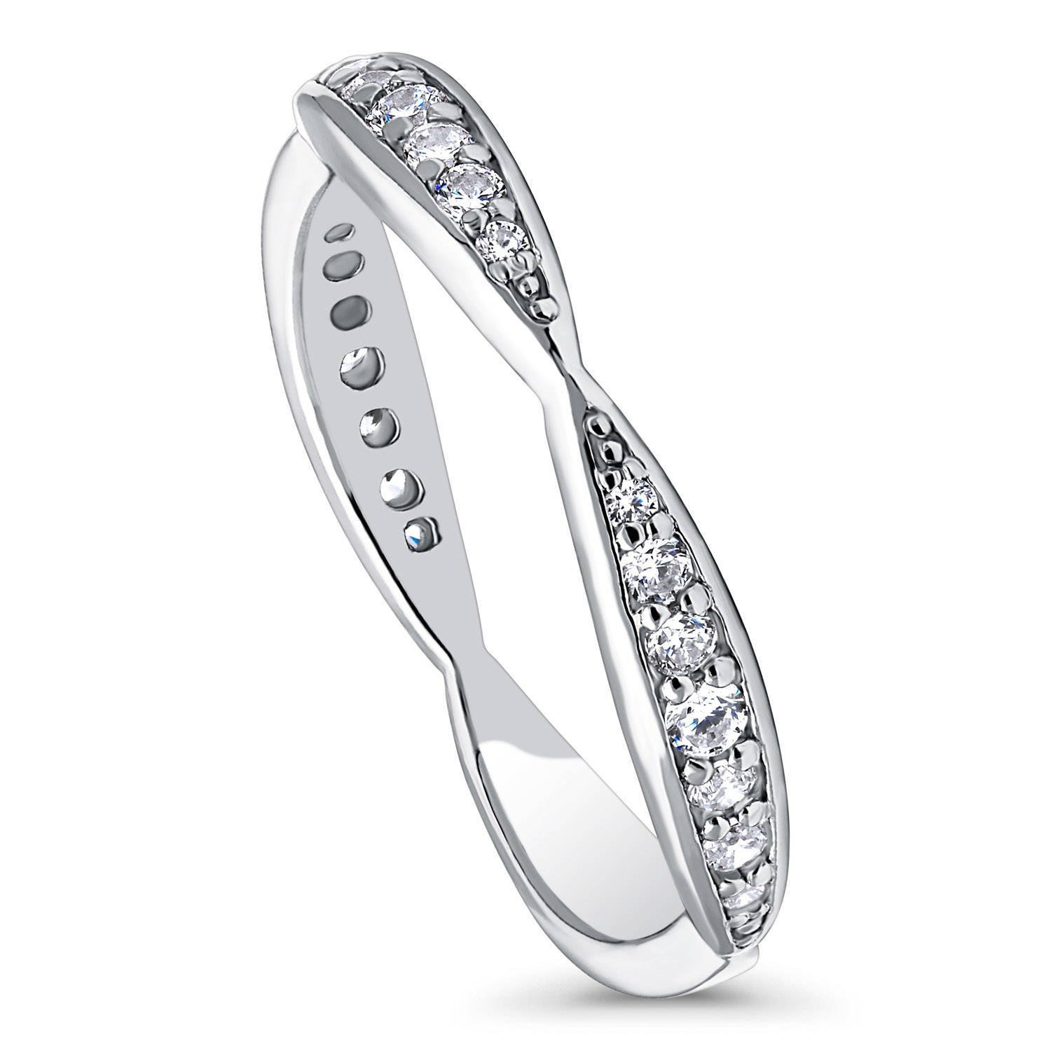 BERRICLE Rhodium Plated Sterling Silver Cubic Zirconia CZ Anniversary Curved Band Size 5