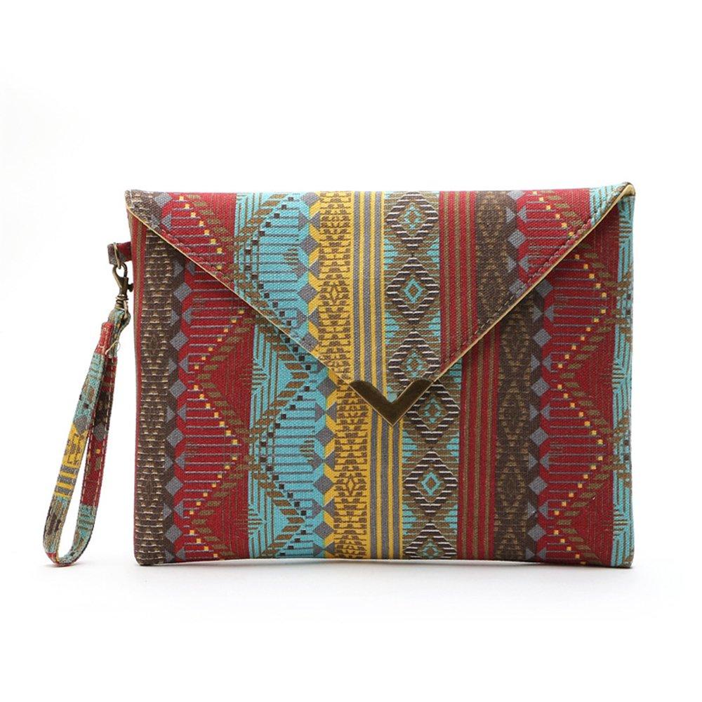 LUI SUI--Hot Summer beach Hand bag Exotic purse Ethnic Envelope Clutch Cr37 (Crimson)