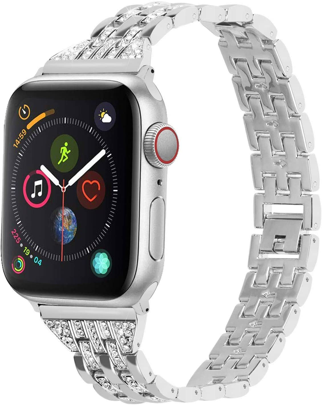 Apple Watch Band Compatible for Apple Watch 38mm 40mm 42mm 44mm with Watch Case, Fullmosa 3 Colors Quinte Alloy iWatch SE&Series 6/5/4/3/2/1 Band with Rhinestone Bracelet