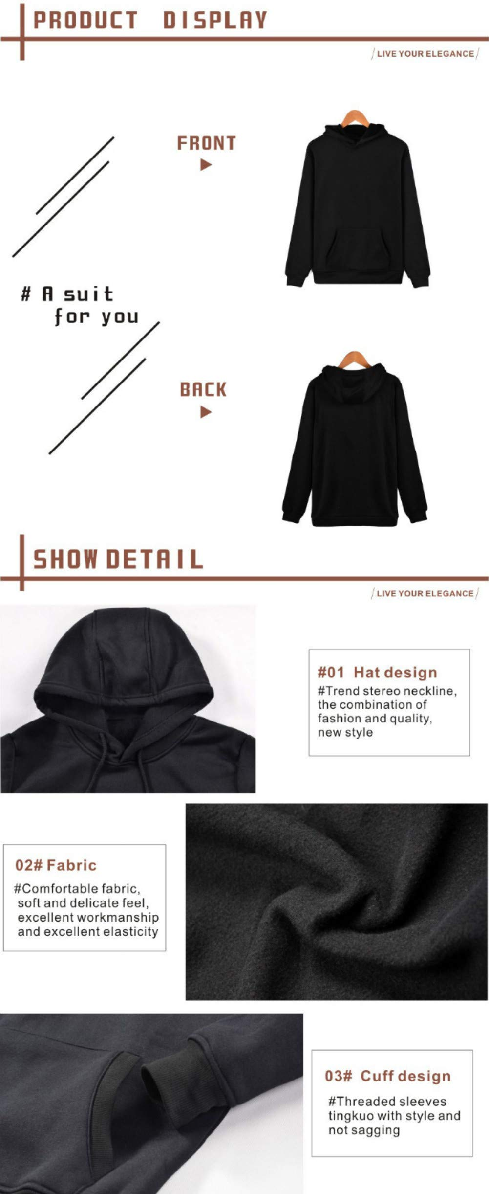 Lifestylle BTS Sweatshirt Jungkook Pullover Hoodies Rap Monster Love Yourself Her Kpop Casual Hooded Sports Sweater(XL-Large, Black) by Lifestylle (Image #4)