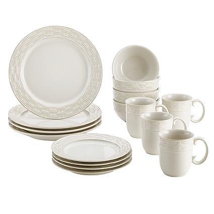 Amazon Com Paula Deen Stoneware Dinnerware 16 Piece Set Vineyard