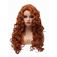 BESTUNG Long Fox Red Hair Curly Wavy Full Head Halloween Wigs for Women Cosplay Costume Party Hairpiece (130A-Fox Red)