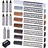 17 Pieces Furniture Repair Kit Wood Markers Touch Up Repair Pen, Markers and Wax Sticks with Sharpener for Stains…