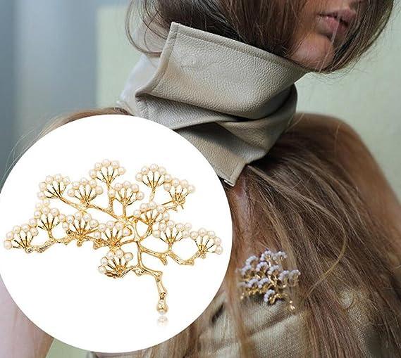 lumanuby Brosche Fashion Pers/önlichkeit sch/öne Retro Kiefer Baum Brosche Baum Zweige Pearl Corsage Pin Kristall Strass Schmuck Fantasy Corsage und Brosche Pin Dekoration gold