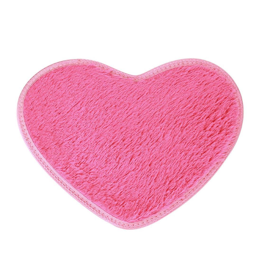 Sothread 40x28cm Non-slip Bath Carpet Heart-shaped Mats Bedroom Area Rug Home Decor (Hot Pink).
