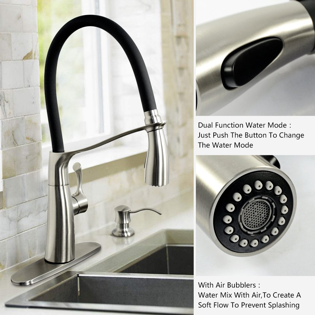 Haoxin Single Handle Pull Down Swivel Kitchen Faucet With Soap