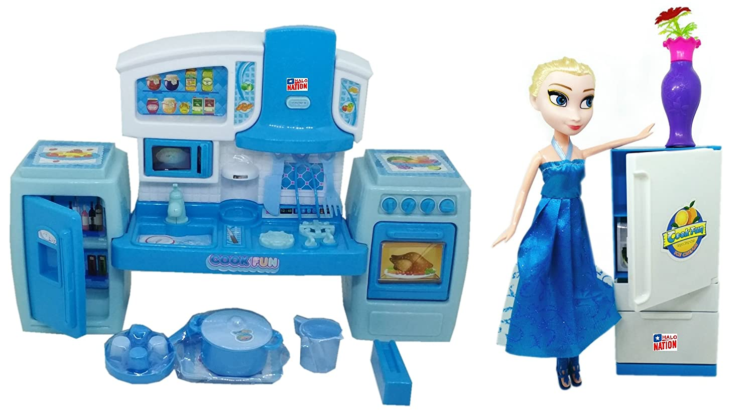Buy HALO NATION Fashion Frozen Kitchen Set with Princess Doll ...