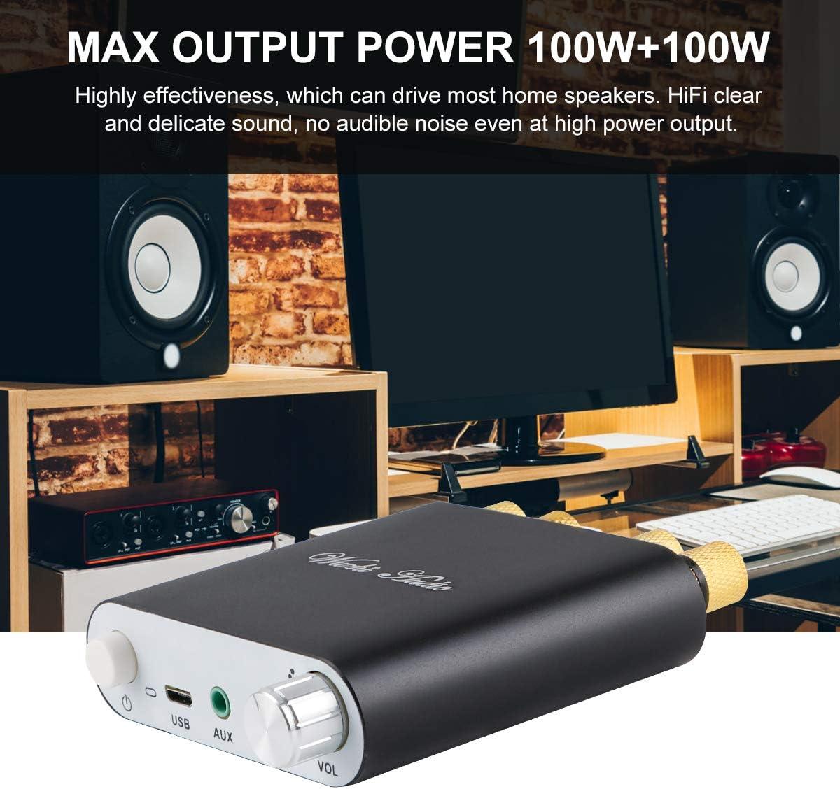 Bluetooth Amplifier 5.0 Mini Hifi Stereo 2.0 TPA3116D2 2X100W Audio AMP Class D Digital Power