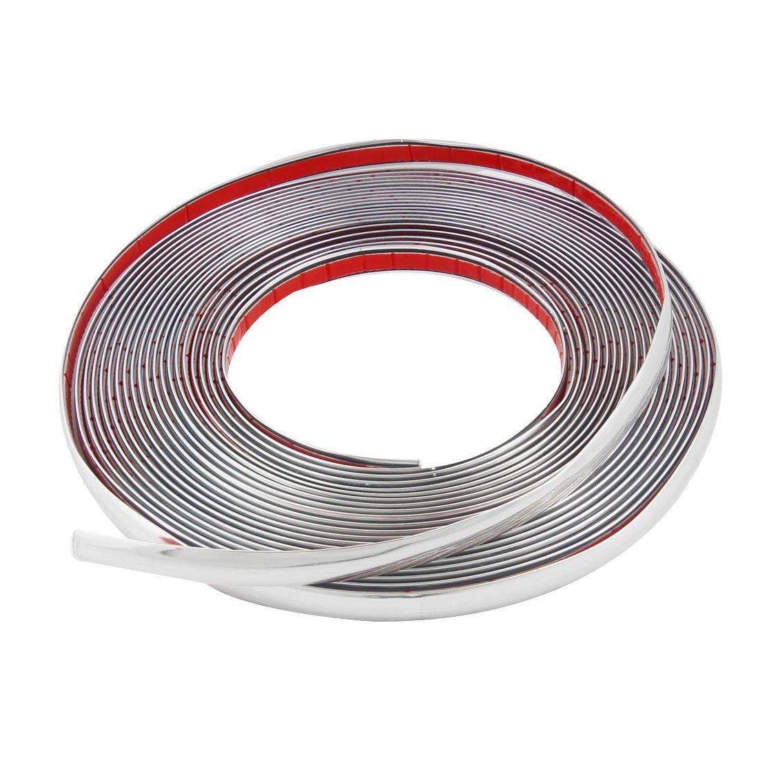 uxcell 15M x15mm Flexible Silver Tone Moulding Trim Strip Decor for Car Auto