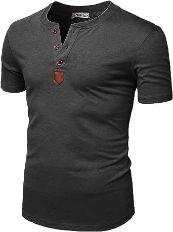 H2H Mens Casual Slim Fit Henley T-Shirts Short Sleeve Crew-Neck Basic Designed