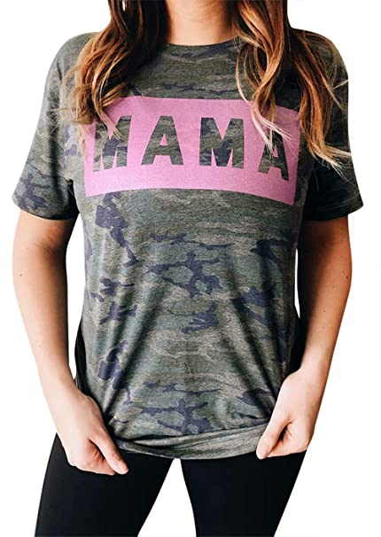 25afa7c4b710 EGELEXY Women's Camo Camouflage T Shirt Mama Letters Print Tops Tee Short  Sleeve Mom Mother's Gift