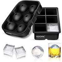 Ice Cube Trays, Adoric Sphere Ice Cube Molds Set of 2, Silicone Ice Ball Maker with Lid & Large Square Molds for Whiskey…