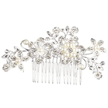 Jewelry & Accessories Jewelry Sets & More Slbridal Art Deco Silver Clear Rhinestones Crystals Pearls Leaves Wedding Hair Comb Bridal Hair Accessories Hair Jewelry Women Highly Polished