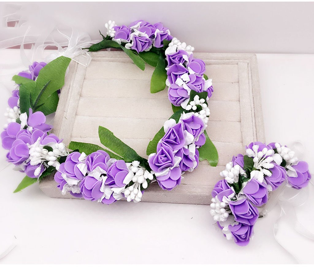 Wreath Flower, Headband Flower Garland Handmade Wedding Bride Party Ribbon Headband Wristband Hairband Blue/Pink/Purple (Color : Purple)