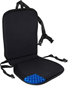 FOMI Premium All Gel Orthopedic Seat and Back Cushion Pad | Upper Lower Back Support Pillow for Car, Office, Kitchen Chair | Pressure Sore, Coccyx Pain Relief | Prevents Sweaty Bottom | Foldable