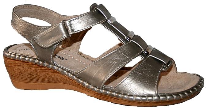 Sandalias para mujer, ligeras y acolchadas, para el verano, con cierre de correa, color Plateado, talla 35.5