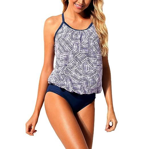 b896d002443 Amazon.com  Joytoo Women 2pcs Spaghetti Strap Floral Print Plus Size  Tankini Swimsuit S-3XL  Clothing