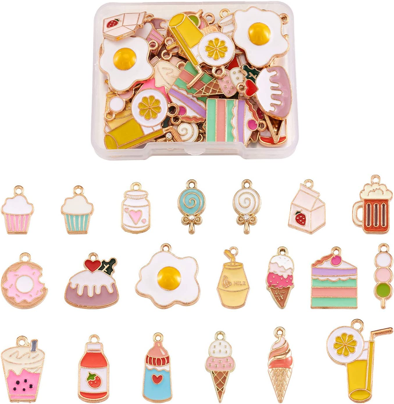 Craftdady 40pcs Food Theme Enamel Pendant 20 Styles Light Gold Plated Donut Lollipop Ice Cream Cup Cake Bubble Tea Milk Dangle Charm for Earring Bracelet Necklace Jewelry Making