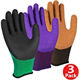 3 Pairs Superior Grip Garden Gloves, High Performance Breathable Work Gloves, Dexterity Latex Fully Coating Durable, High Visibility Machine Washable for General Purpose Use - Medium