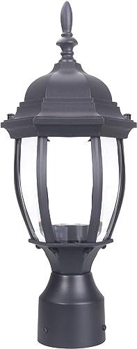 LIT-PaTH Outdoor Post Light Pole Lantern Lighting Fixture with One E26 Base Max 100W, Aluminum Housing Plus Glass, Matte Black Finish