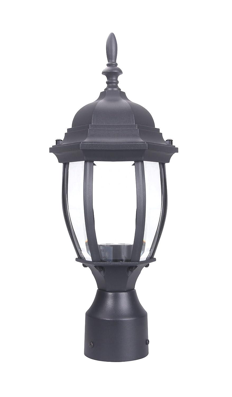 LIT-PaTH Outdoor Post Light Pole Lantern Lighting Fixture with One E26 Base Max 100W, Aluminum Housing Plus Glass, Matte Black Finish (Black)