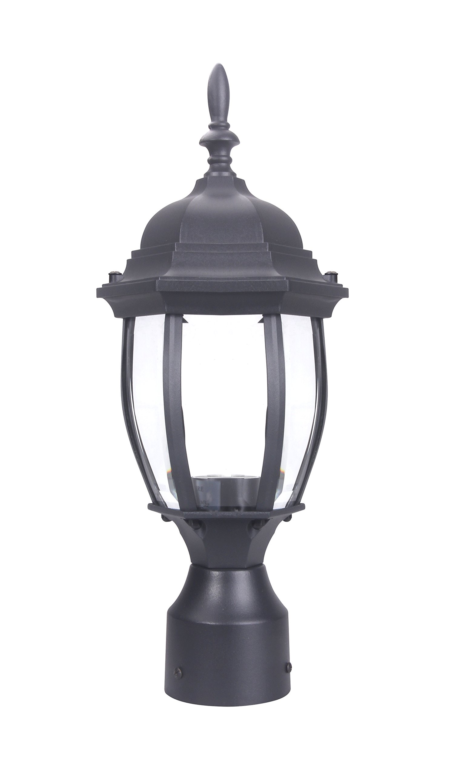 LIT-PaTH Outdoor Post Light Pole Lantern Lighting Fixture with One E26 Base Max 100W, Aluminum Housing Plus Glass, Matte Black Finish