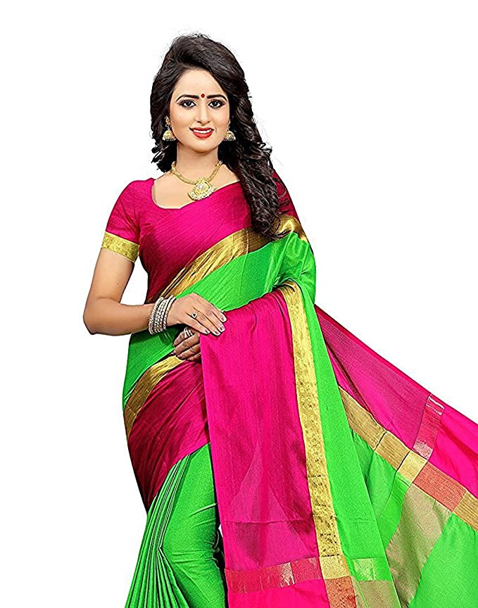 c28ec102a2e5cc BuyOnn Cotton Silk Solid Saree(Red Green _Free Size): Amazon.in: Clothing &  Accessories