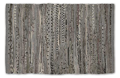DII Contemporary Reversible Indoor Area Rag Rug, Machine Washable, Handmade from Recycled Fabrics, Unique For Bedroom, Living Room, Kitchen, Nursery and more, 4 x 6 – Gray Color may vary