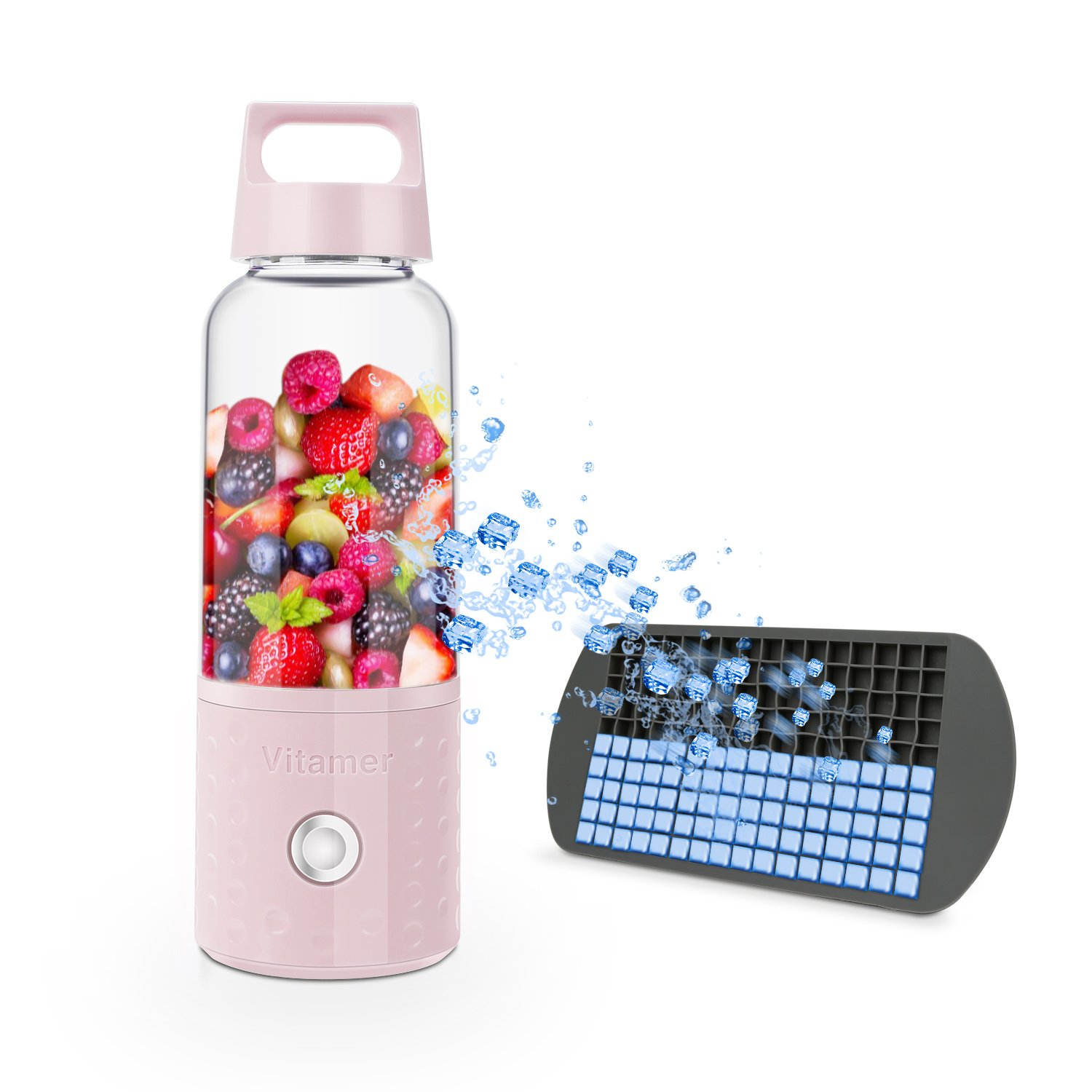 Mini Blender Bottle, BizoeRade Portable Can Be Removable Be Hand Blender, Electric Juicer Cup with Silicone Ice Tray for Fruit Smoothie Baby Food Picnic, USB Rechargeable (Pink)