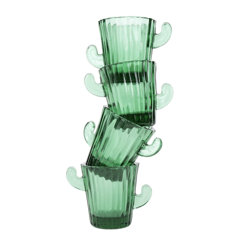 Color Verde. Vasos de Cristal peque/ños para chupitos Juego de Vasos Tipo Cactus Helio Ferretti 4 Unidades