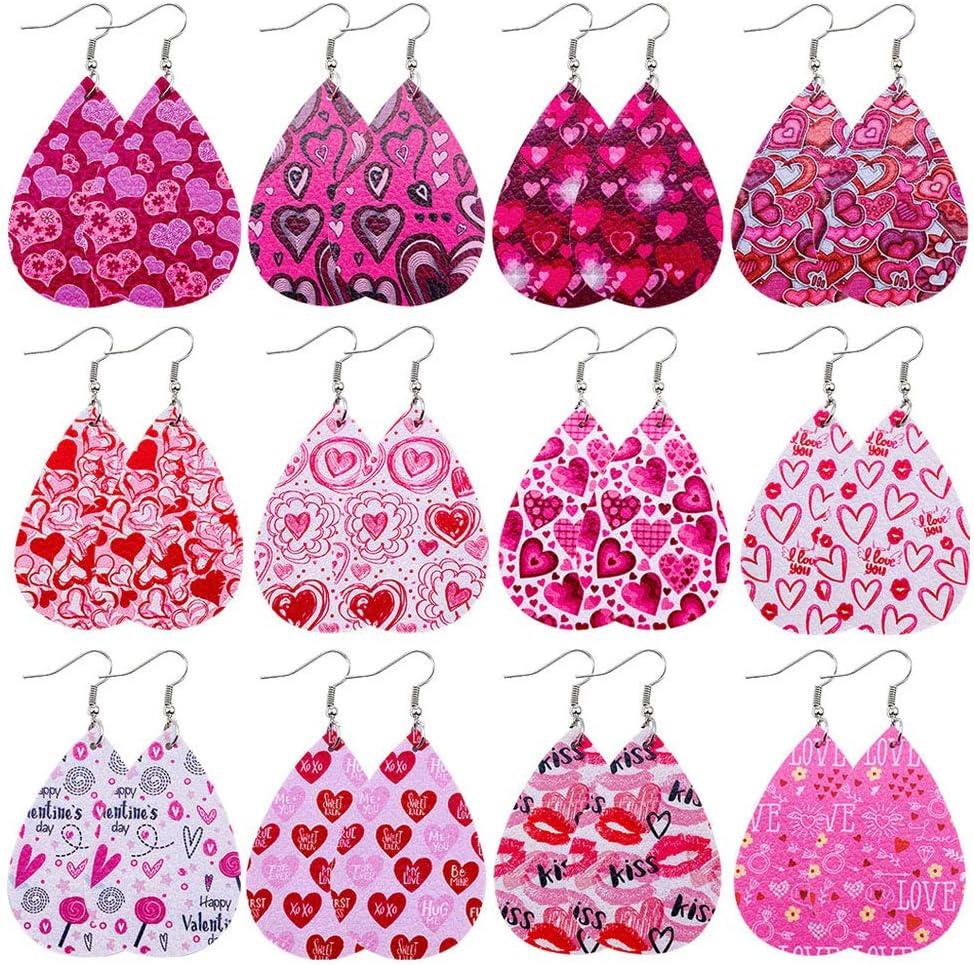GUMEI 12 Pares de Pendientes de Cuero para el día de San Valentín, Kit de Pendientes de lágrima con Estampado de corazón para Mujer