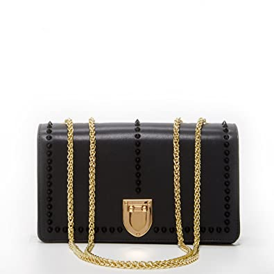 c50956aa37 Studs Crossbody Bags For Women Black Leather Crossover Purse Studded Purses  and Handbags Light Gold Chain ...