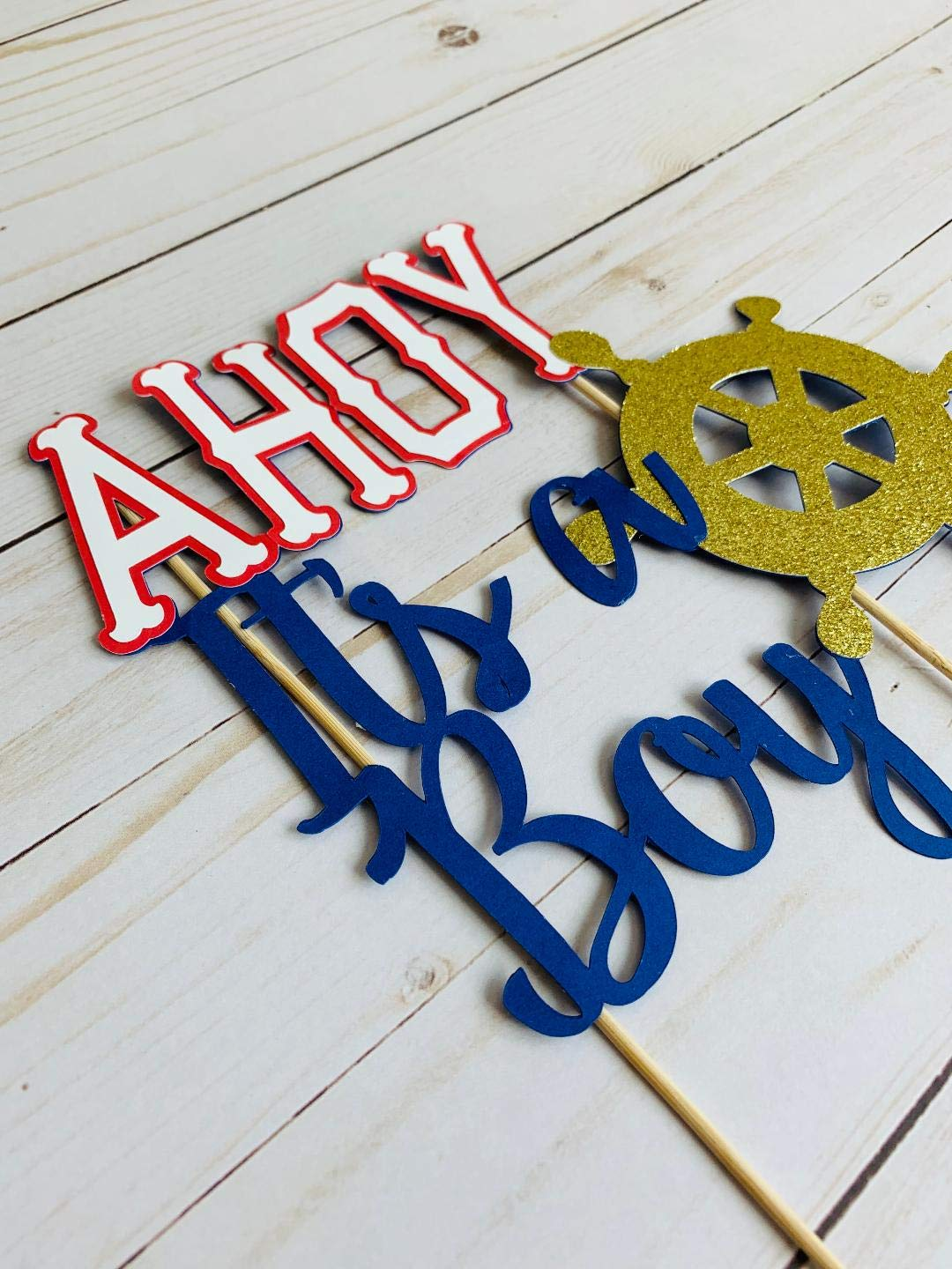 AHOY ITS A BOY CAKE TOPPER WITH BOAT WHEEL