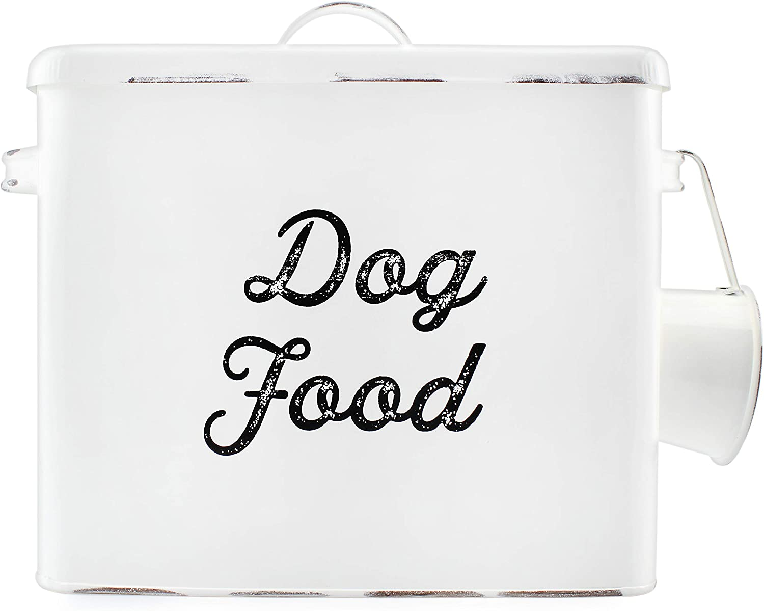 AuldHome Rustic Dog Food Canister; White Farmhouse Style Storage Bin for Pet Food