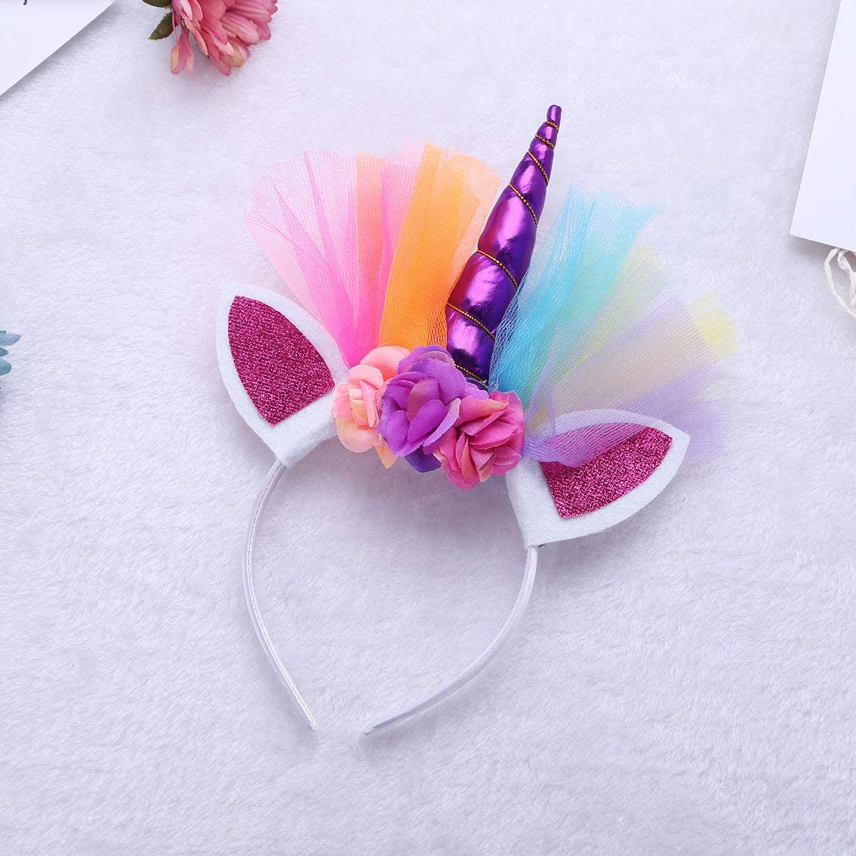 dPois Girls Rainbow Ruffled Pastel Tutu Skirt with Horn Hair Hoop 2Pcs Set Birthday Party Photo Shoot Outfits