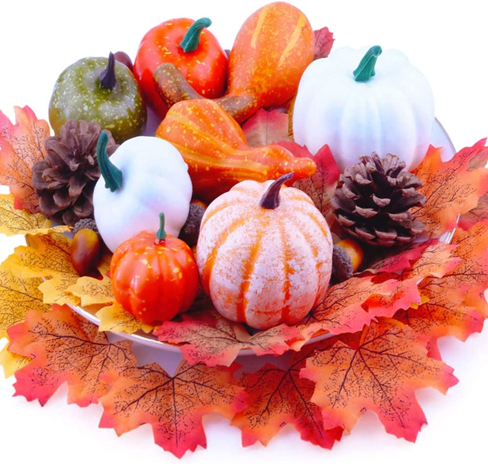 Thanksgiving Pumpkin Decorations, Artificial Mini Pumpkin Fall Maple Leaves Acorns Pine Cones Set for Halloween Thanksgiving Christmas Wedding Fall Harvest Home Table Decor 50Pcs