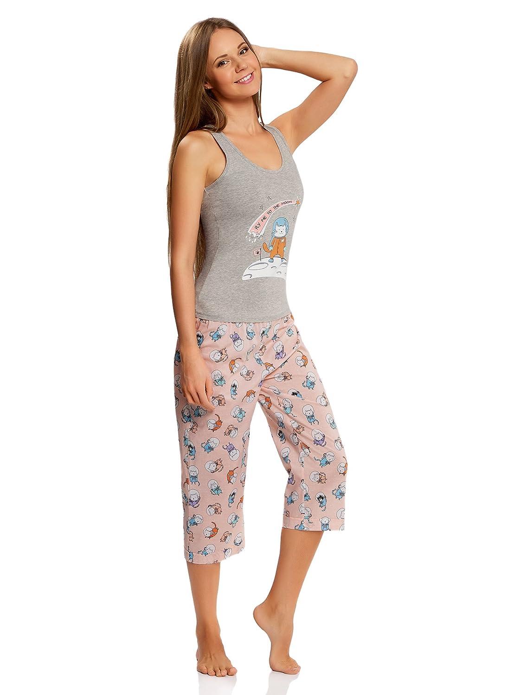 oodji Ultra Mujer Pijama con Pantalones y Estampado Gato