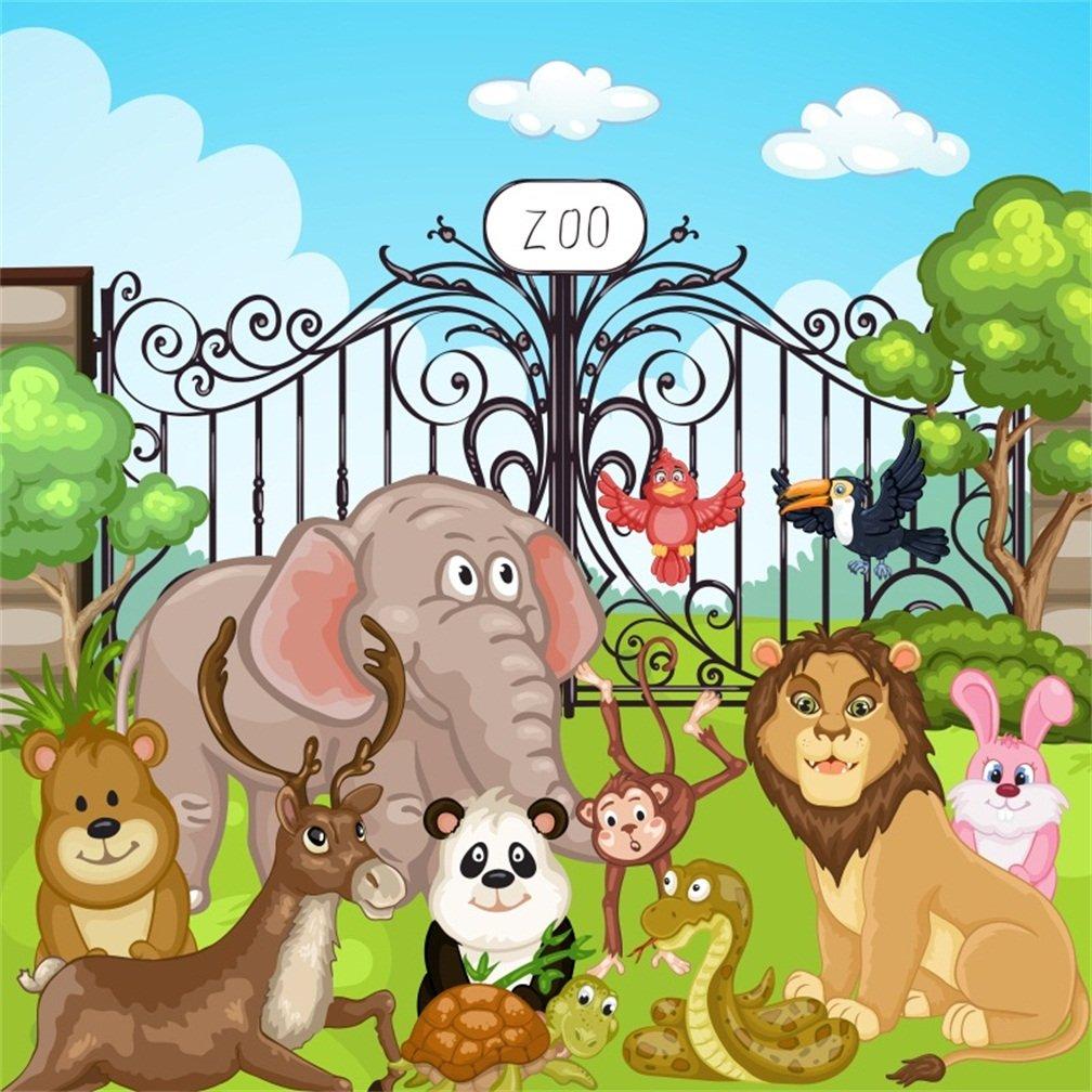 csfoto 5 x 5ft背景の子誕生日パーティー装飾動物園動物写真バックドロップCaroon Happy Entrance Monkeyライオンパンダ象野生生物写真Studio小道具ビニール壁紙   B07CZ31DR9