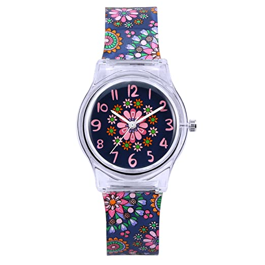 ZEIGER - Reloj analógico de cuarzo para niños, diseño de flores, color negro-