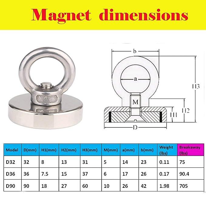 Metalldetektoren und Schatzsucher geeignet f/ür Magnetangeln Zugkraft: 34/kg Durchmesser: 32/mm Leistungsstarker 5/St/ück runder Neodym-Angelmagnet von Jakago