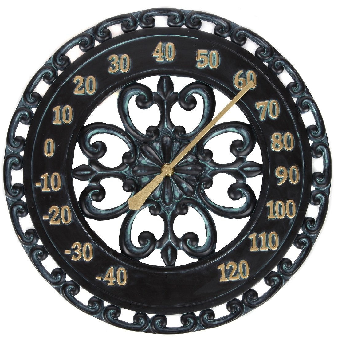 Lily's Home Hanging Verdigris Wall Dial Thermometer, Ideal for Indoor and Outdoor Use, Black (13 Inches)