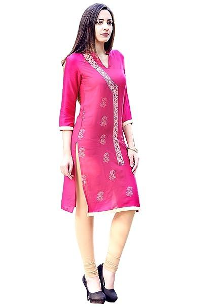 ad2b764c0c4 Vihaan Impex Indian Kurtis for Women Kurti Kurtas for Women Bust Size 38 Inches  Pink Kurti