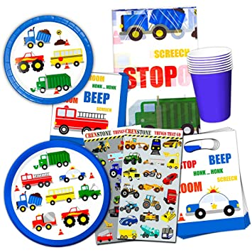 Cars and Trucks Party Supplies Ultimate Set , Birthday Party Decorations,  Party Favors, Plates, Cups, Napkins and More (Things That Go Party  Supplies)