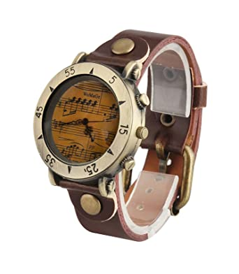 ShoppeWatch Mens Watch Brown Dial Music Symbols Leather Band Reloj Hombre SW568-1DKBR