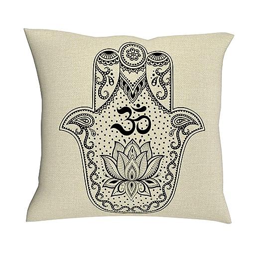 HoodBA Funda de Almohada de algodón y Lino, diseño de Mandala de ...