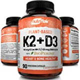 NutriFlair Plant-Based Vitamin K2 (Mk7) + D3 Supplement With Bioperine - 2 In 1 - Immune System Support, Strong Bones & Teeth And Heart Health - Non-Gmo, Gluten Free, Vegan From Lichen D3, Chicpeas K2