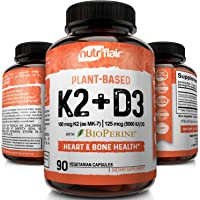 NutriFlair Vitamin K2 (MK7) with D3 5000 IU Supplement with BioPerine (Black Pepper) for Immune System Support, Strong…