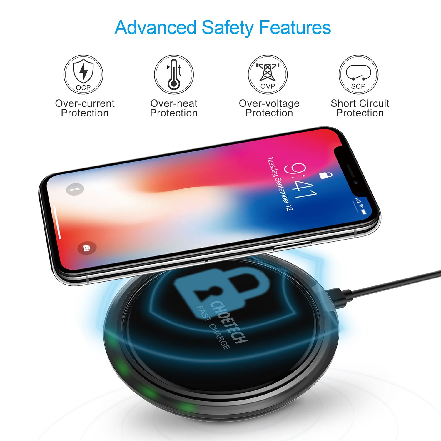 CHOETECH Wireless Charger, 7.5W Qi Fast Wireless Charger Pad Compatible iPhone X/8/8 Plus,10W Fast Charging Compatible Samsung Galaxy S9 S8 S9 Plus Note 8 (QC3.0 AC Adapter Included) by CHOETECH (Image #2)
