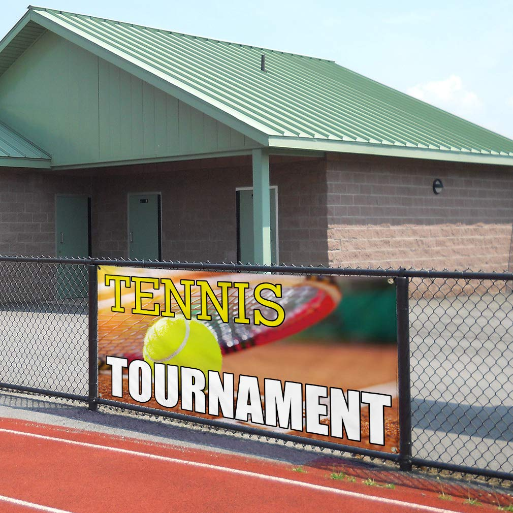 8 Grommets 44inx110in Vinyl Banner Sign Tennis Tournament #1 Lifestyle Tennis Marketing Advertising Yellow Multiple Sizes Available One Banner
