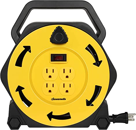 Extension Cord 4 Power Outlets Link2Home Cord Reel 35 ft 14 AWG SJTW Cable.